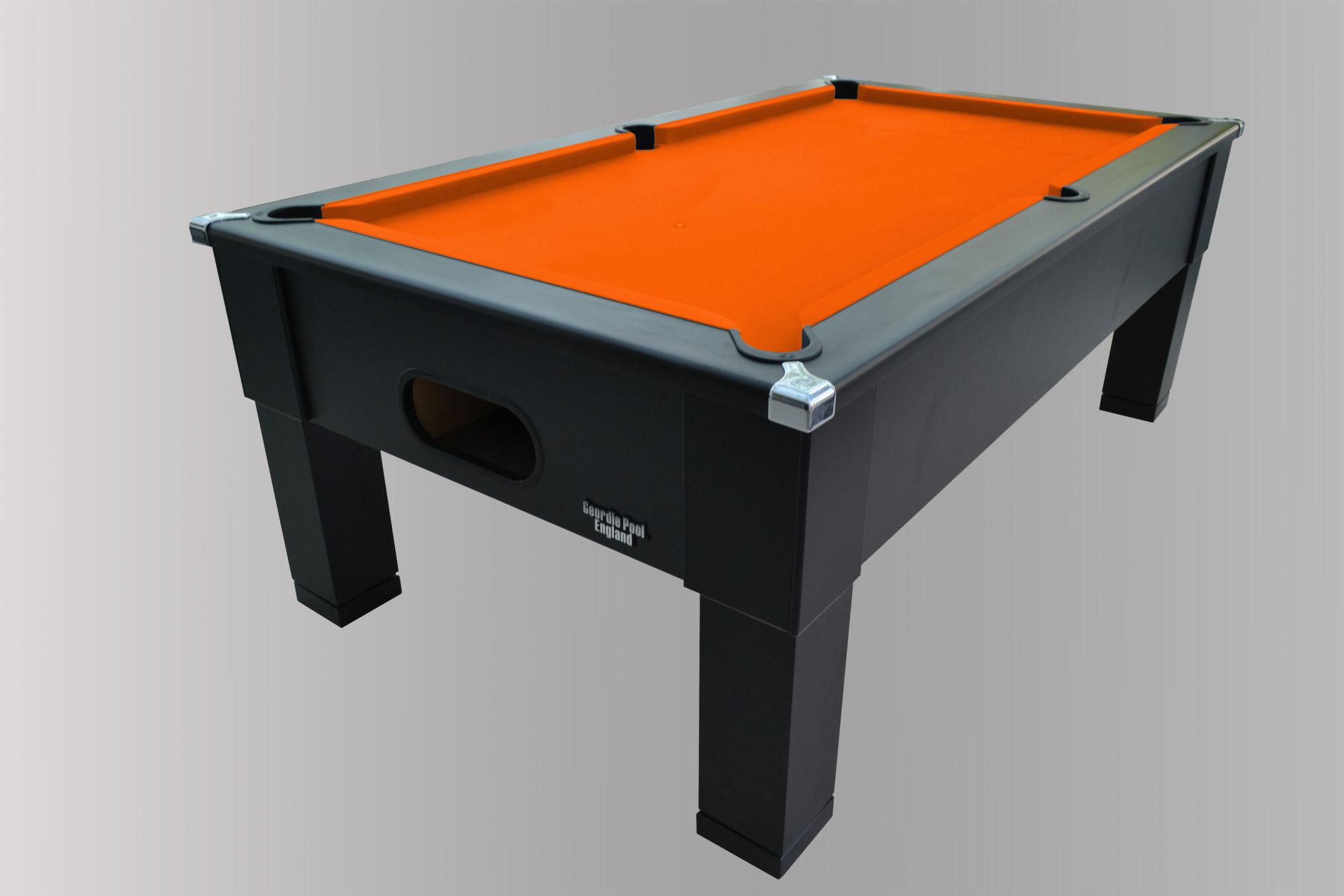 Black Square Leg Pool Table With Orange Smart Cloth