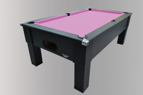 Geordiepool Black Square Leg Pool Table with Hainsworth Smart Pink Cloth