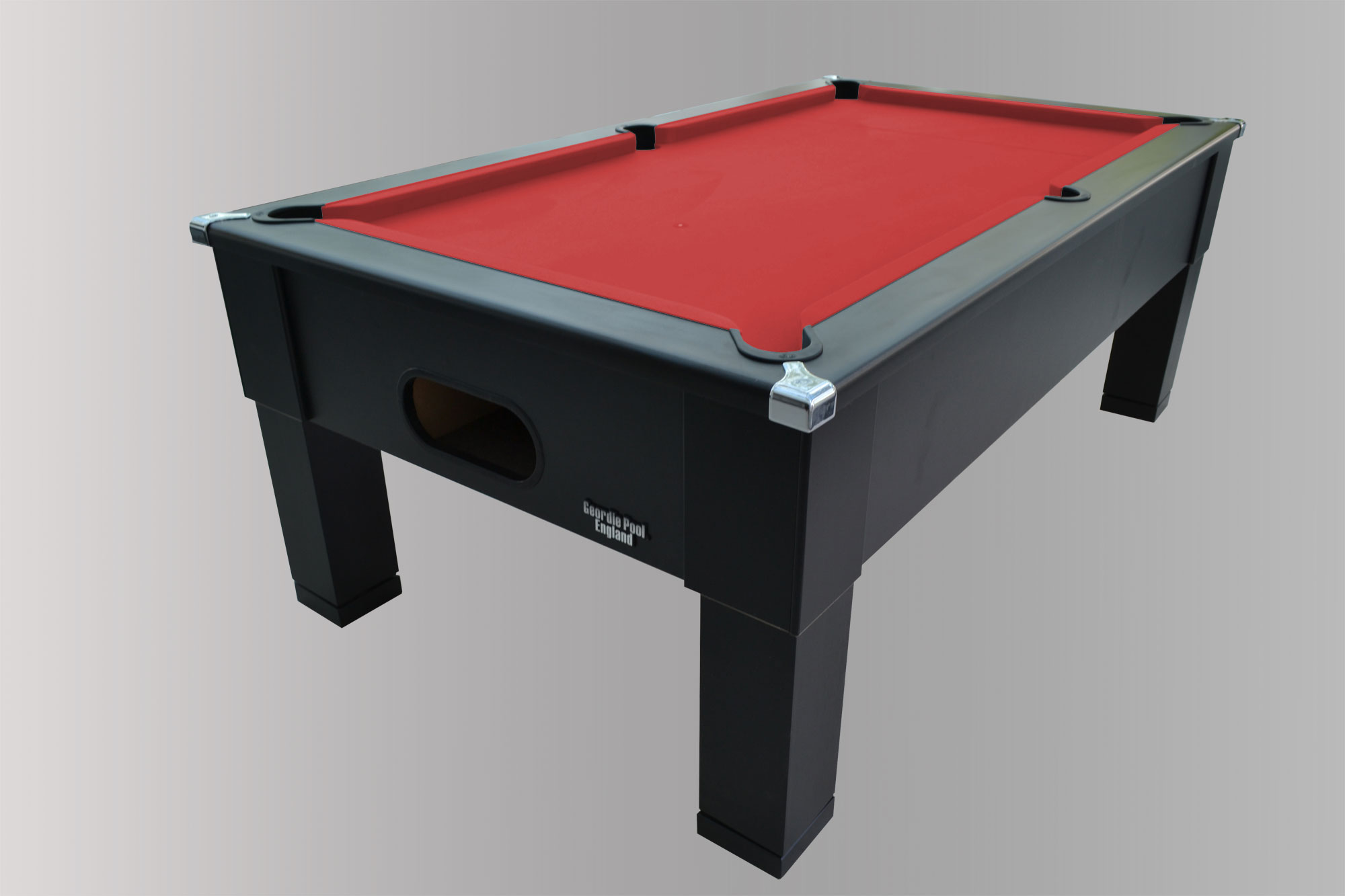 Black Square Leg Pool Table With Red Cloth