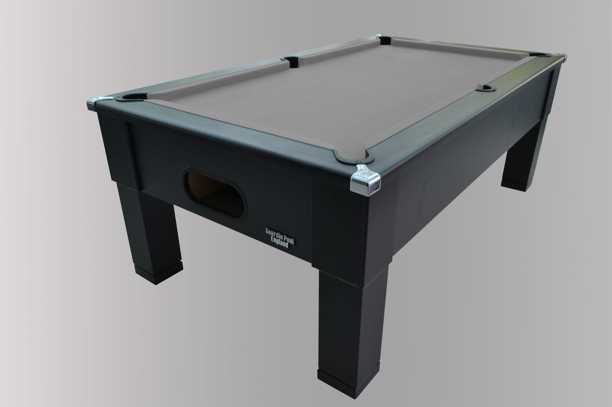 Geordiepool Black Square Leg Pool Table With Hainsworth Smart Silver Cloth  ...