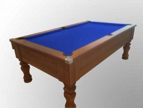 dark walnut table with blue cloth