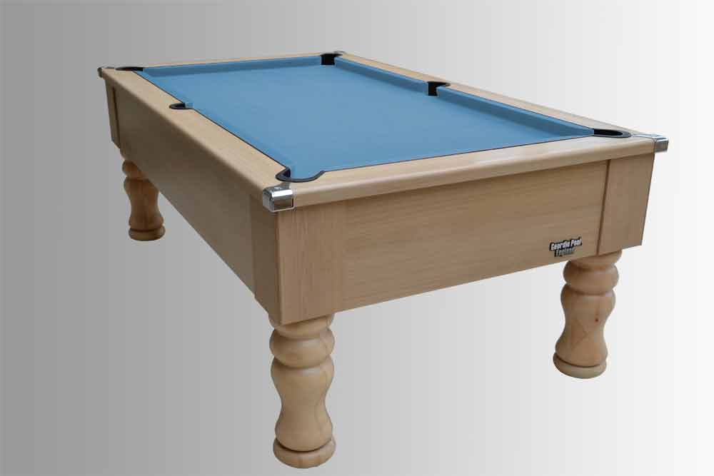 Light Oak Traditional Pool Table With Powder Blue Smart Cloth