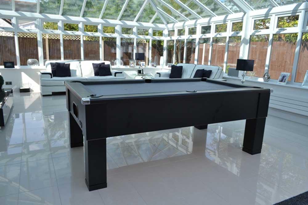 Matt Black Square Leg Pool Table