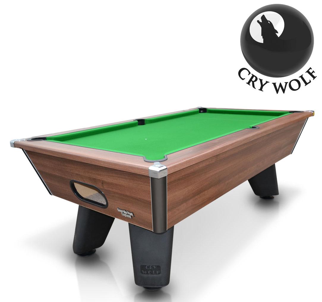 Cry Wolf Slate Bed Pool Table Dark Walnut